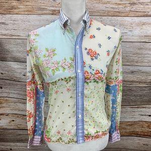 Ralph Lauren Button Blouse Floral Patchwork Stripe
